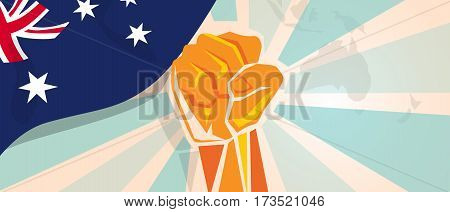 Australia fight and protest independence struggle rebellion show symbolic strength with hand fist illustration and flag vector