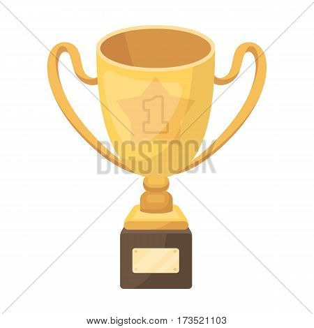 Gold Cup of the winner on a wooden stand with the inscription.The reward for first place. Awards and trophies single icon in cartoon style vector symbol stock web illustration.