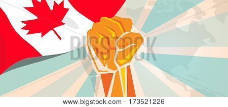 Canada fight and protest independence struggle rebellion show symbolic strength with hand fist illustration and flag vector