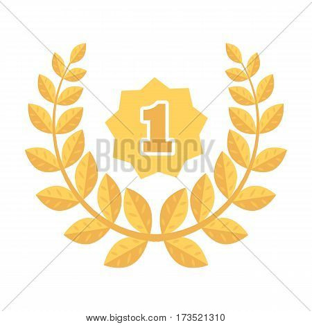 A Golden wreath from the metal. The reward for first place. Awards and trophies single icon in cartoon style vector symbol stock web illustration.