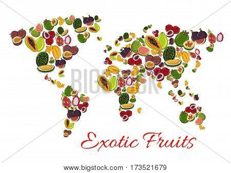Exotic fruit world map poster with papaya, passion fruit, feijoa, dragon fruit, carambola, lychee, durian, fig and guava. Tropical fruit continents for healthy vegetarian food and drink design