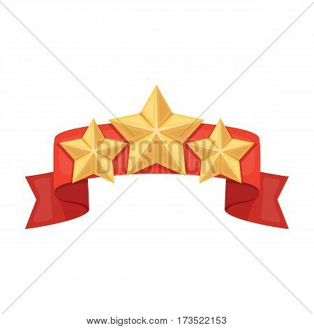 Red ribbon with three stars.Reward a police officer for detention of the criminal. Awards and trophies single icon in cartoon style vector symbol stock web illustration.