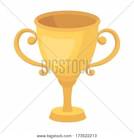 Gold Cup for the first place.The award winner of the racing competition. Awards and trophies single icon in cartoon style vector symbol stock web illustration.