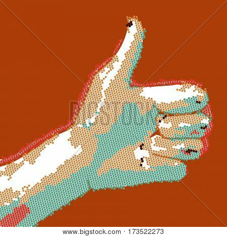 Cartoon dotted hand thumbs up. EPS10 vector buisness success like illustration.