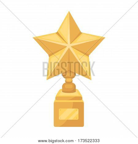 Gold prize in the shape of a star on a stand. The statue in the first place. Awards and trophies single icon in cartoon style vector symbol stock web illustration.