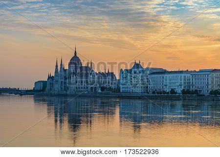 Budapest city skyline when sunrise, Budapest, Hungary