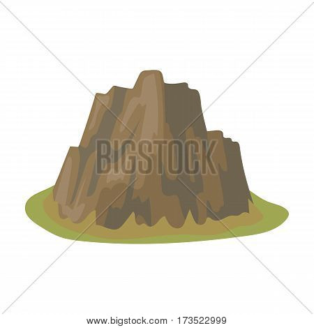 High steep mountain with grass the dark colors with sharp spikes.Different mountains single icon in cartoon style vector symbol stock web illustration.