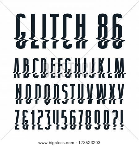 Decorative sanserif font with glitch distortion effect. Isolated on white background