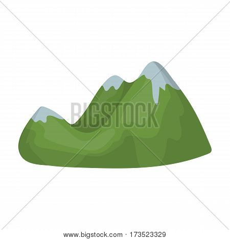 Green mountains. Mountain range covered with dense forest. Different mountains single icon in cartoon style vector symbol stock web illustration.