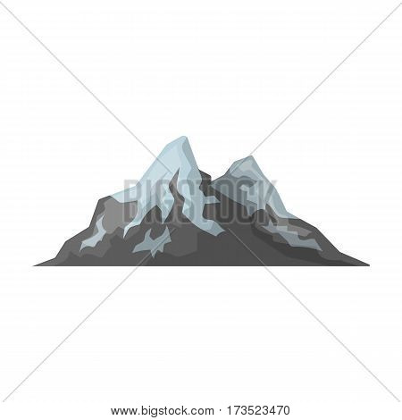 Sharp mountains, on the tops of which the snow melts. Different mountains single icon in cartoon style vector symbol stock web illustration.
