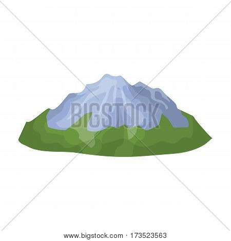 Green mountains.Mountain with snow. Different mountains single icon in cartoon style vector symbol stock web illustration.