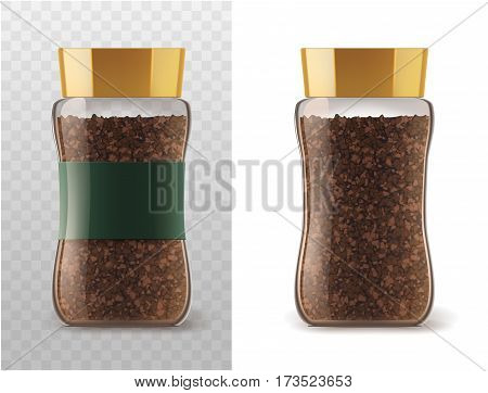 Coffee glass jar with instant coffee granules icons. Vector container package with brown lid and ribbon sticker isolated on white and transparent background for product packaging template