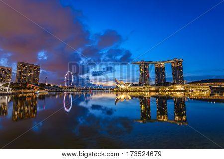Singapore city skyline before sunrise, Marina Bay, Singapore
