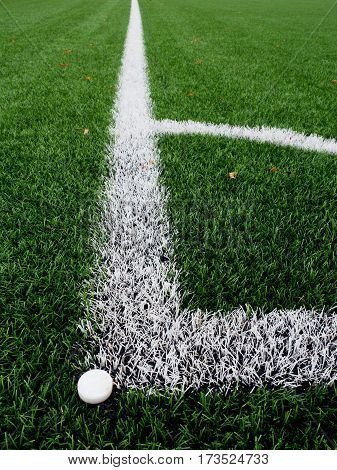 Football Playground Corner On Heated Artificial Green Turf Playgroun