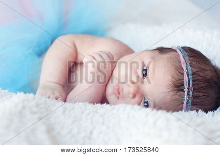 Newborn baby girl. Portrait of a newborn girl with a fluffy skirt and the pink - blue Headbands with beads. Baby is looking straight.