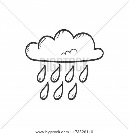 Cloud with rain, hand drawn weather vector icon