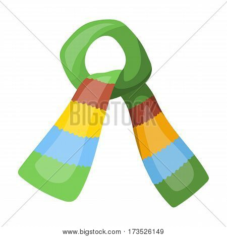 Scarf for boy and girl in cold weather. Cotton green scarf. Scarf tied in a knot. Scarves and shawls single icon in cartoon style vector symbol stock web illustration.