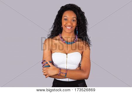 Beautiful African American Woman Wearing Traditional Clothes And Jewelry.