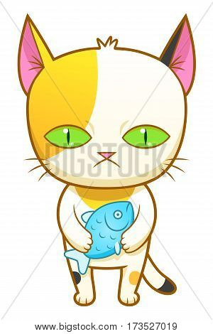 Cute calico kitten holding little fish. Vector illustration.