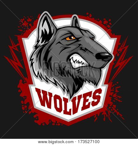 Wolves sports mascot. Head wolf - vector illustration.