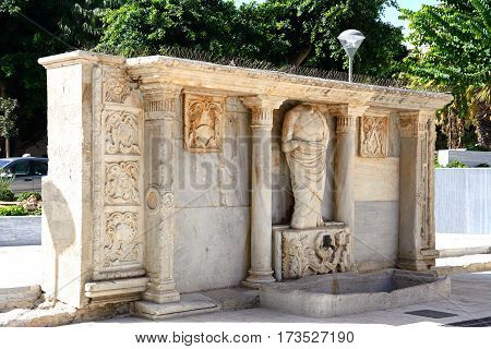 View of the Venetian Bembo fountain in Kornarou square Heraklion Crete Greece Europe.