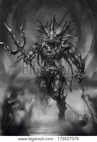 digital painted game character lion fish creature man