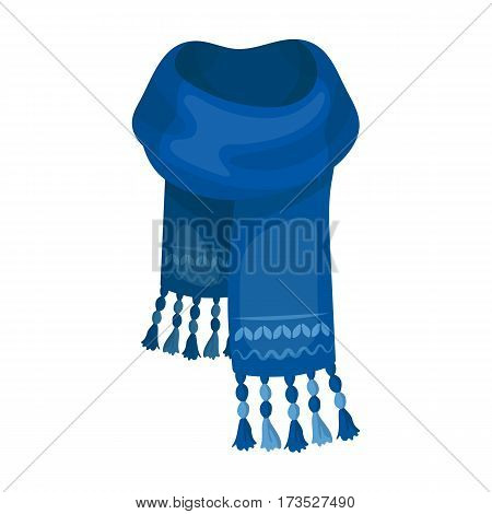 Blue felt scarf with beautiful patterns. Scarves and shawls single icon in cartoon style vector symbol stock web illustration.