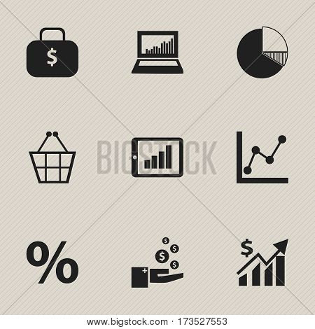 Set Of 9 Editable Analytics Icons. Includes Symbols Such As Circle Diagram, Profit, Money Bag And More. Can Be Used For Web, Mobile, UI And Infographic Design.