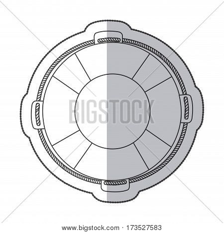 sticker silhouette flotation hoop with rope vector illustration