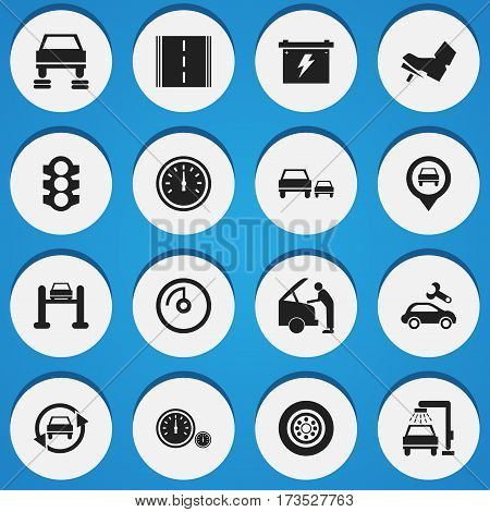 Set Of 16 Editable Car Icons. Includes Symbols Such As Automotive Fix, Vehicle Wash, Tire And More. Can Be Used For Web, Mobile, UI And Infographic Design.