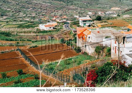 Countryside valley of El Palmar. Agricultural landscape. Tenerife Canary islands Spain