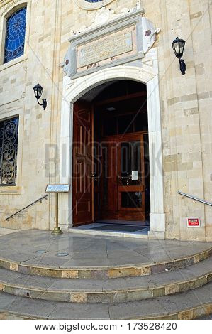 HERAKLION, CRETE - SEPTEMBER 19, 2016 - Entrance to St Titus church in Pl Agiou Titou Heraklion Crete Greece Europe, September 18, 2016.