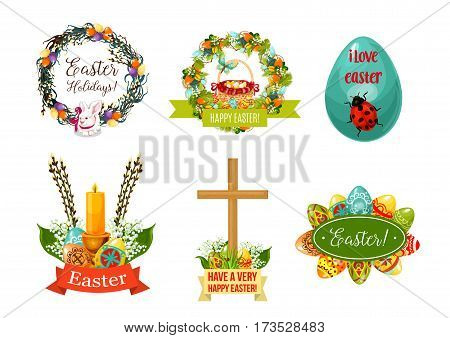 Easter spring holiday symbol set. Easter egg with ornament, rabbit bunny, egg hunt basket, spring flower wreath with lily, tulip and pussy willow twig, cross and candle cartoon signs for Easter design