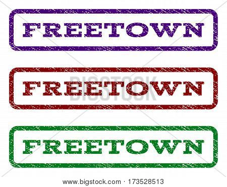 Freetown watermark stamp. Text tag inside rounded rectangle frame with grunge design style. Vector variants are indigo blue red green ink colors. Rubber seal stamp with unclean texture.