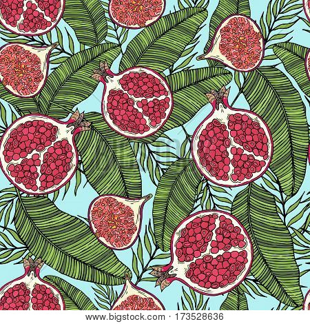 Pattern of fruits pomegranate and fig on the color leaves. On a blue background. Seamless.