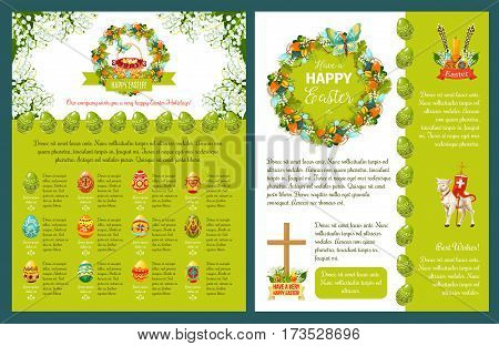 Easter greetings template for poster, banner or card design. Easter eggs and spring flower wreath with ribbon banner, egg hunt basket, Easter lamb with cross, candle, willow twig and text layouts