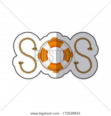 colorful sticker Life belt with rope sos inscription vector illustration