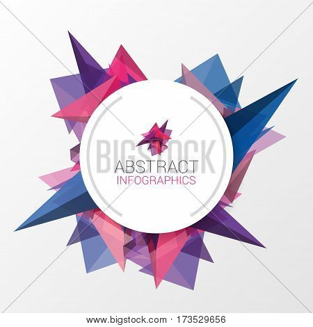 Abstract triangle background with circle for your text. Vector illustration