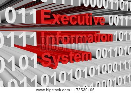 executive information system in the form of binary code, 3D illustration