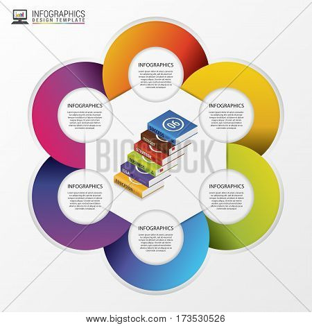 Infographic. Modern design template with books. Vector illustration.