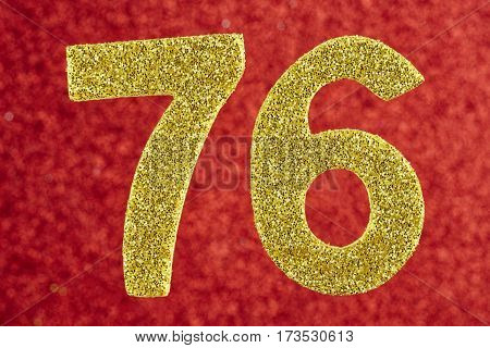 Number seventy-six yellow color over a red background. Anniversary. Horizontal