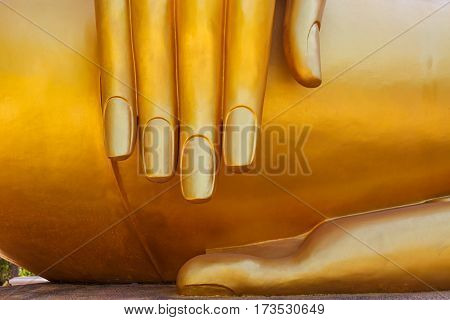 Hand of buddha statue in Thailand, art background