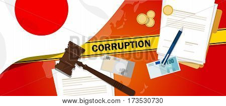 Japan corruption money bribery financial law contract police line for a case scandal government official vector