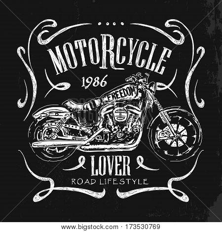 Vintage Motorcycle hand drawn t-shirt vector illustration