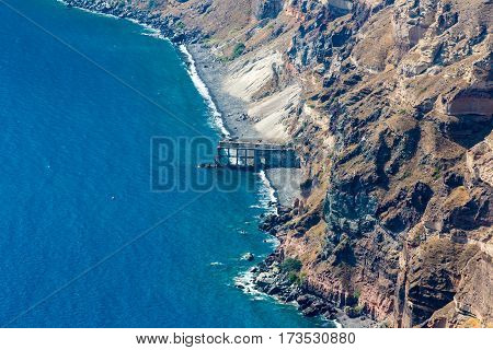 View of Fira town - Santorini islandCreteGreece. Beautiful bay with clear blue sky and sea