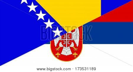 bosnia herzegovina serbia neighbour countries half flag symbol