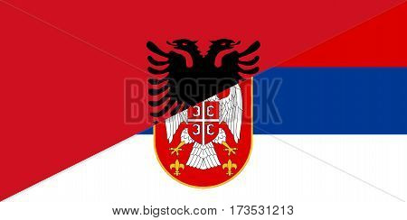 albania serbia neighbour countries half flag symbol