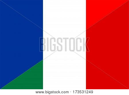 france italy neighbour countries half flag symbol