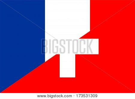 france switzerland neighbour countries half flag symbol