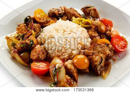 Kebabs - grilled meat and vegetables